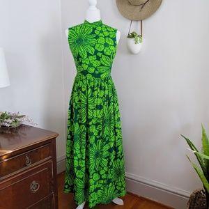 Vintage 60s Green Flower Sleeveless Maxi Dress 2